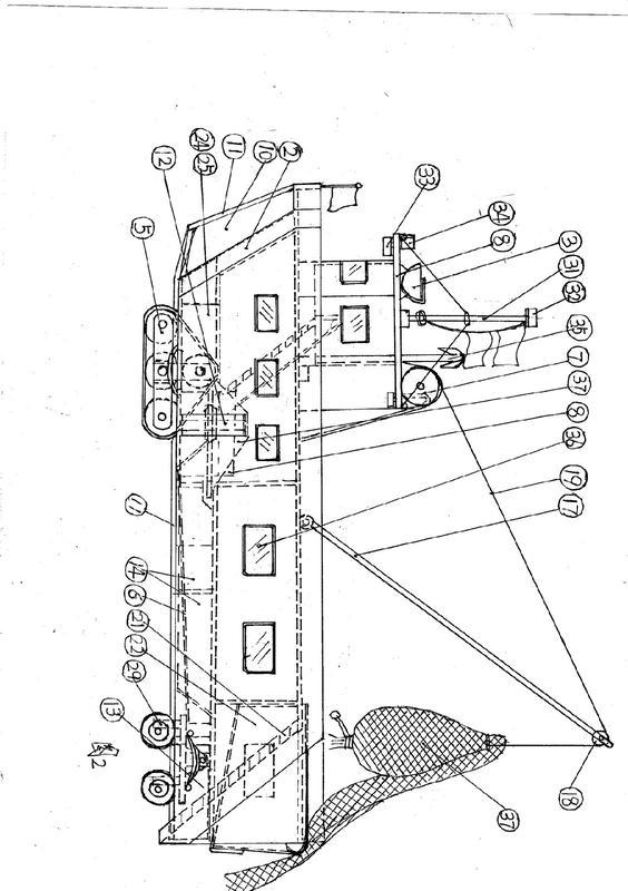 一种可机动陆行的自动化兜网捕鱼船