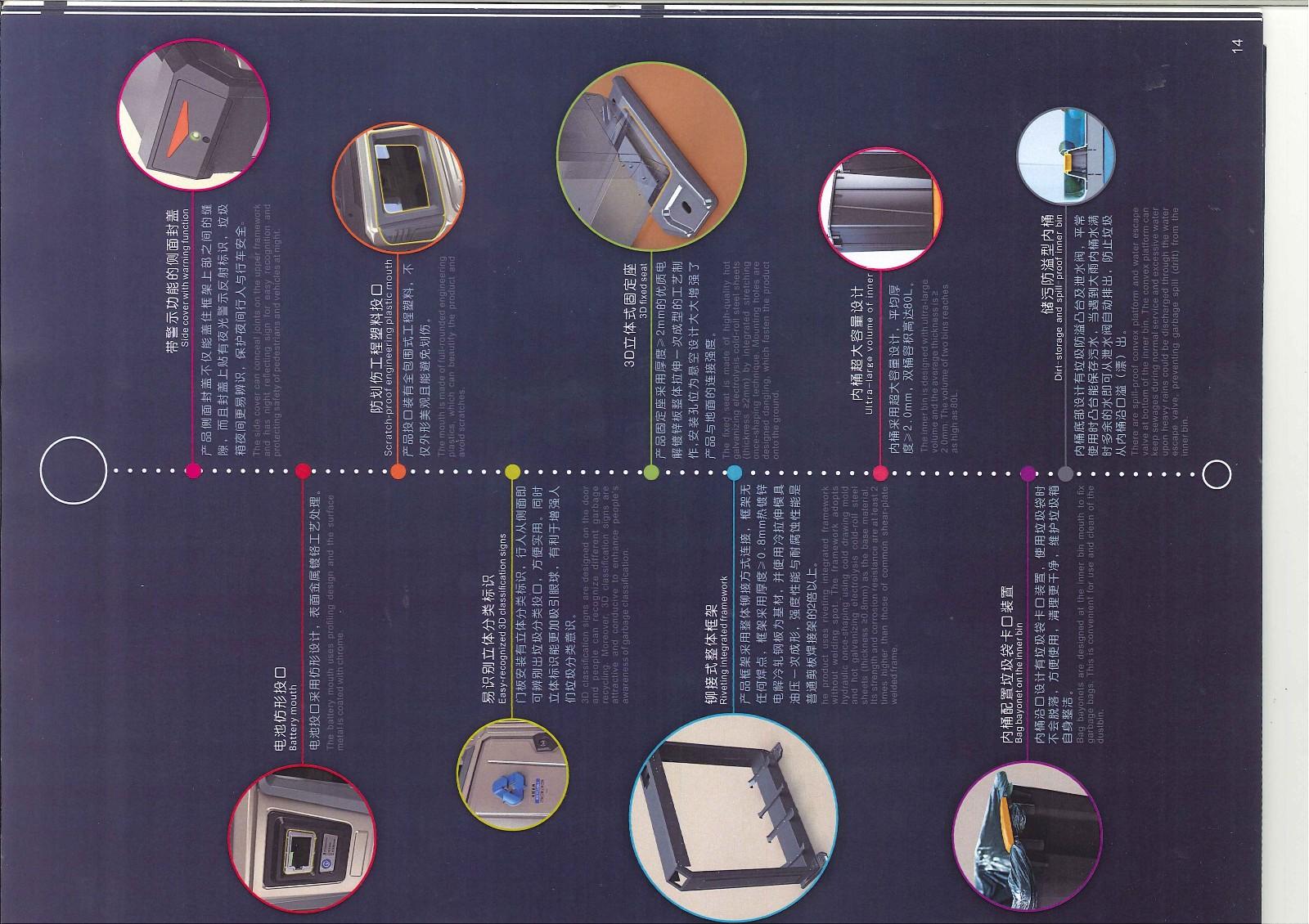 智能垃圾箱监管系统是建立在智能垃圾箱、GPS卫星定位和无线网络技术上的信息化智能管理系统。系统能实现对智能垃圾箱的管理、监视、定位及智能报警等功能。智能垃圾箱采用微电脑控制芯片,首创配置热能感应、红外线探测和GPS卫星定位装置,采用太阳能发电和智能报警等多种高科技于一体的新型高度智能化垃圾箱。智能垃圾箱采用太阳能光伏技术,通过光学元件将太阳能转化为电能,供给驱动系统,当有多余为使用的电能,便将电能储存在蓄能电池中,在没有太阳能的时间段可以保持系统的正常运行。 智能垃圾桶功能介绍: 1 、智能垃圾箱管理 系