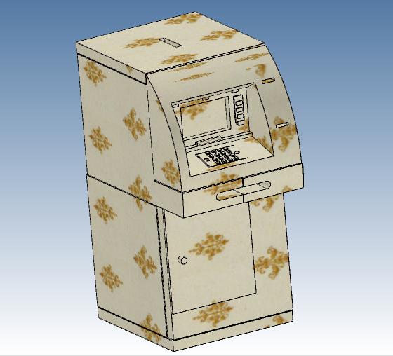 一种可组装成自动柜员机模型的 3D 益智积木图1