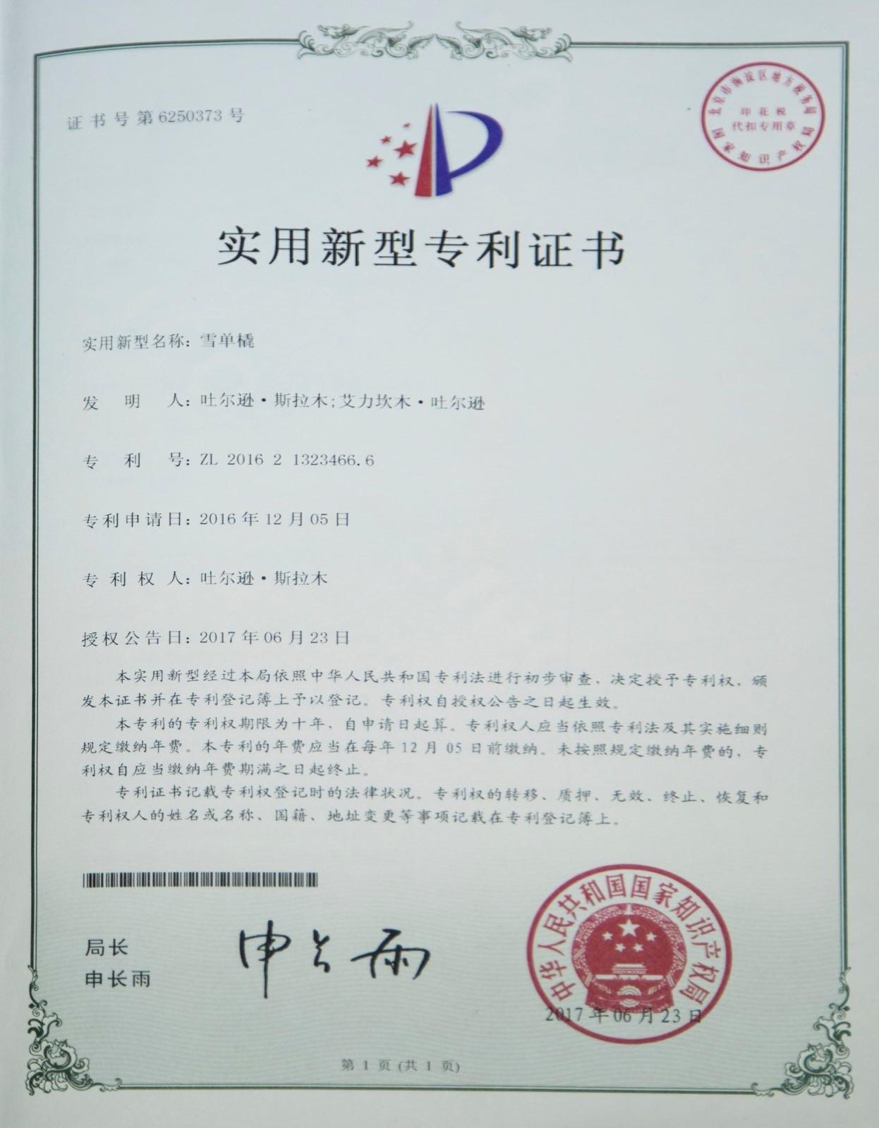 专利证书首页