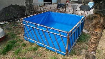 篷布无气味水池鱼池图片 帆布鱼池水池价格 易折叠活动水产业鱼池