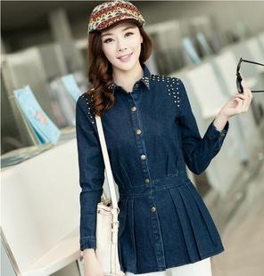 2014春装女装新款韩版钉珠复古收腰牛仔帅气衬衫 单排扣翻领上衣