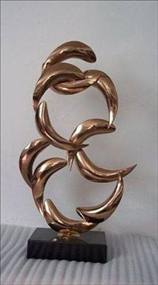 电镀玫瑰金不锈钢鱼雕塑摆件